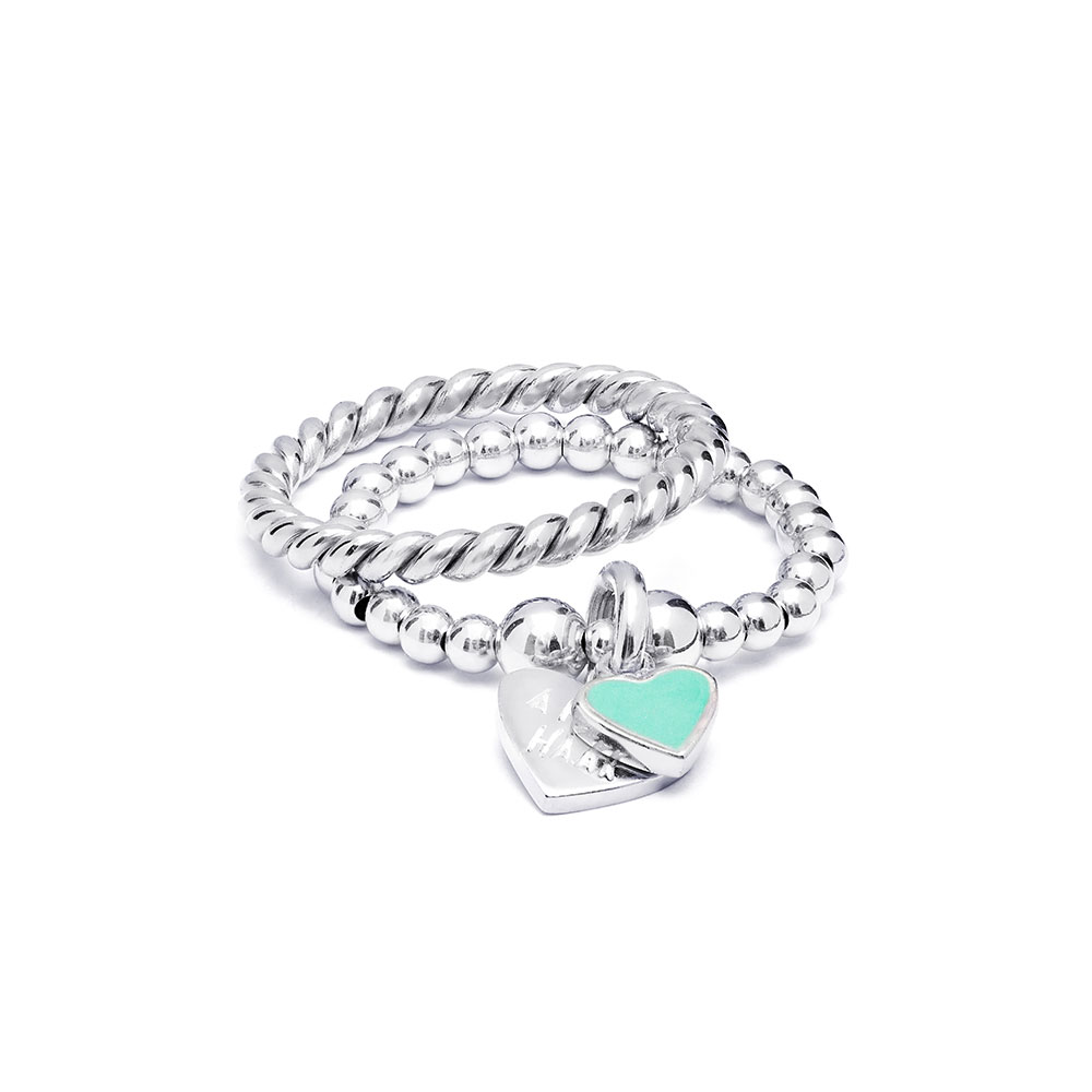 Santeenie Silver Ring Stack - Turquoise Heart