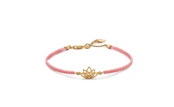 Lotus Flower Gold Friendship Bracelet - Pink