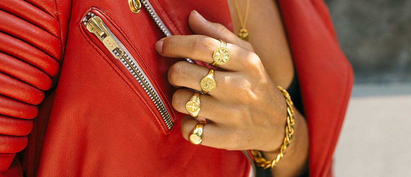 NU&MII Stay Wild Collection Leather Jacket Gold Rings