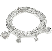 MOTHER'S DAY BOUQUET OF FLOWERS SILVER CHARM BRACELET