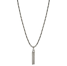 HEMATITE AND SILVER TASSEL NECKLACE
