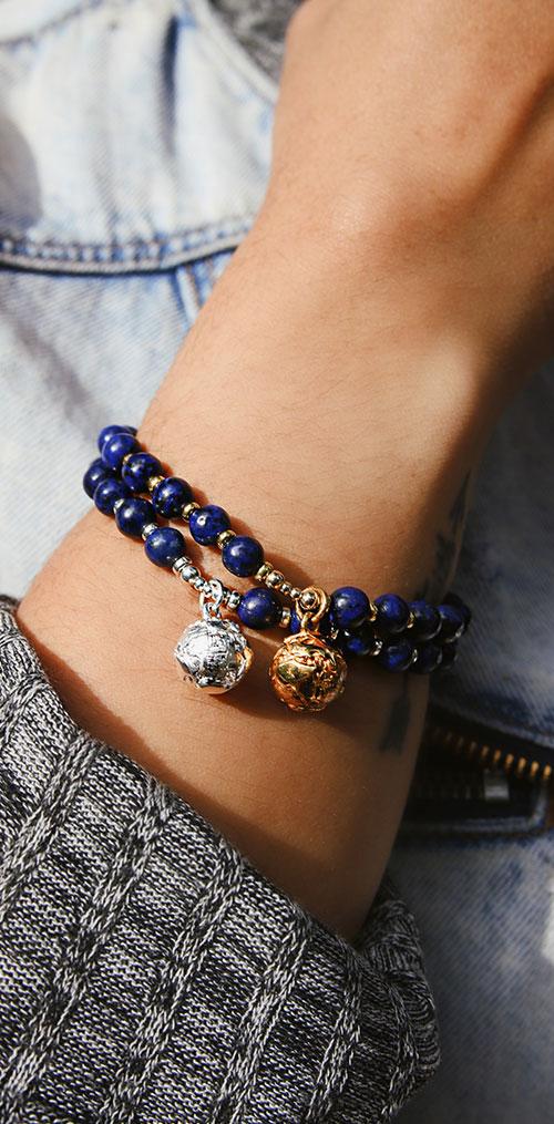 Lapis Lazuli Globe Bracelets